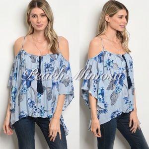 Floral cold shoulder tassel top